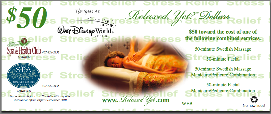 $50 Coupon For Grand Floridian Spa
