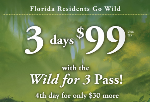 Walt Disney World Florida Resident Special: $99 Wild For 3-Day Pass