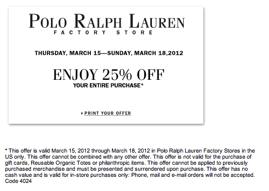 Coupons ralph lauren outlet stores printable