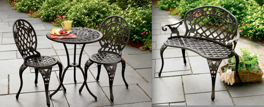 Cast Iron & Aluminum Bistro Set and Bench From Kmart