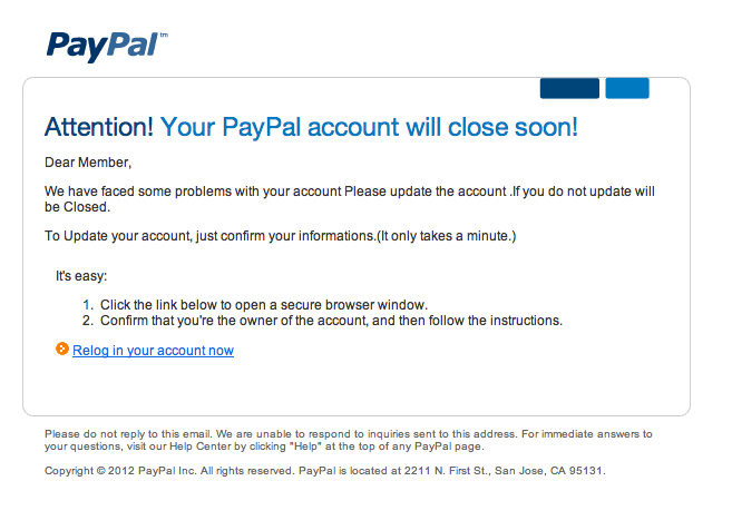 Attention Your PayPal Account Will Close Soon Fake Email Message