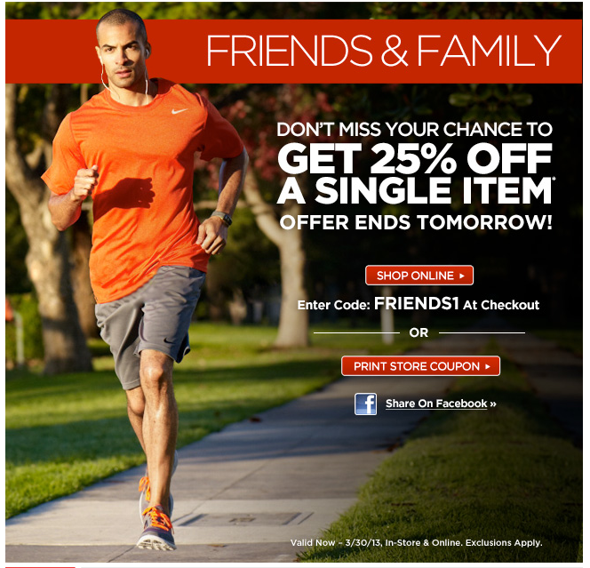 Sports Authority Friends & Family 25% Off A Single Item