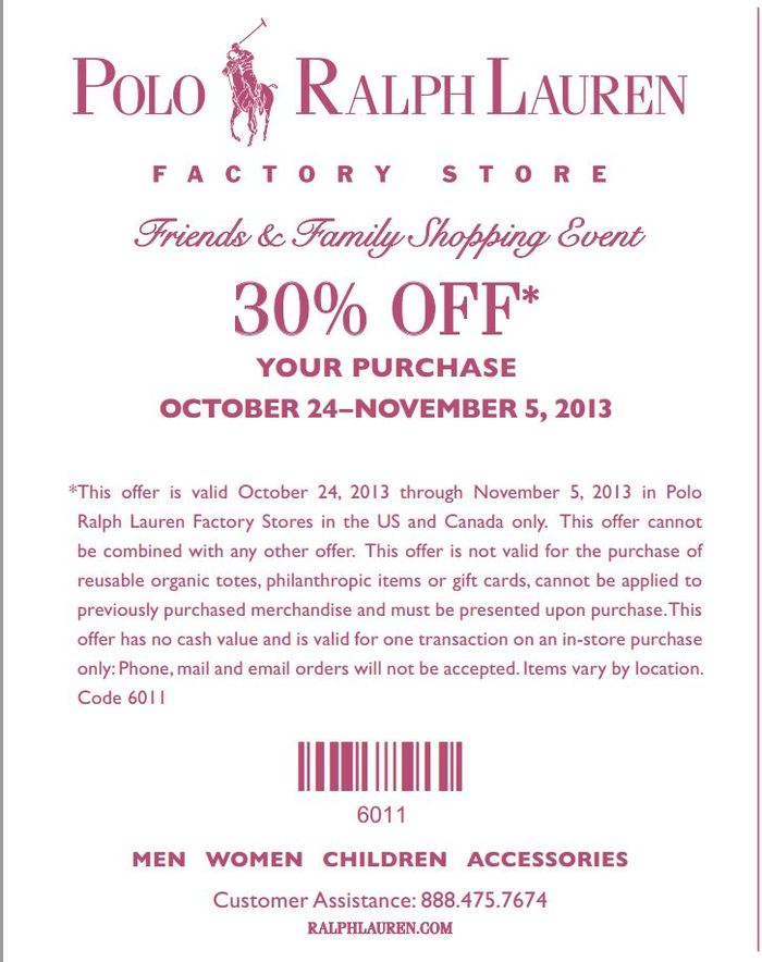 ... Factory Store! POLO. I used the coupon tonight and showed the image on  my phone. The coupon code is 6011!