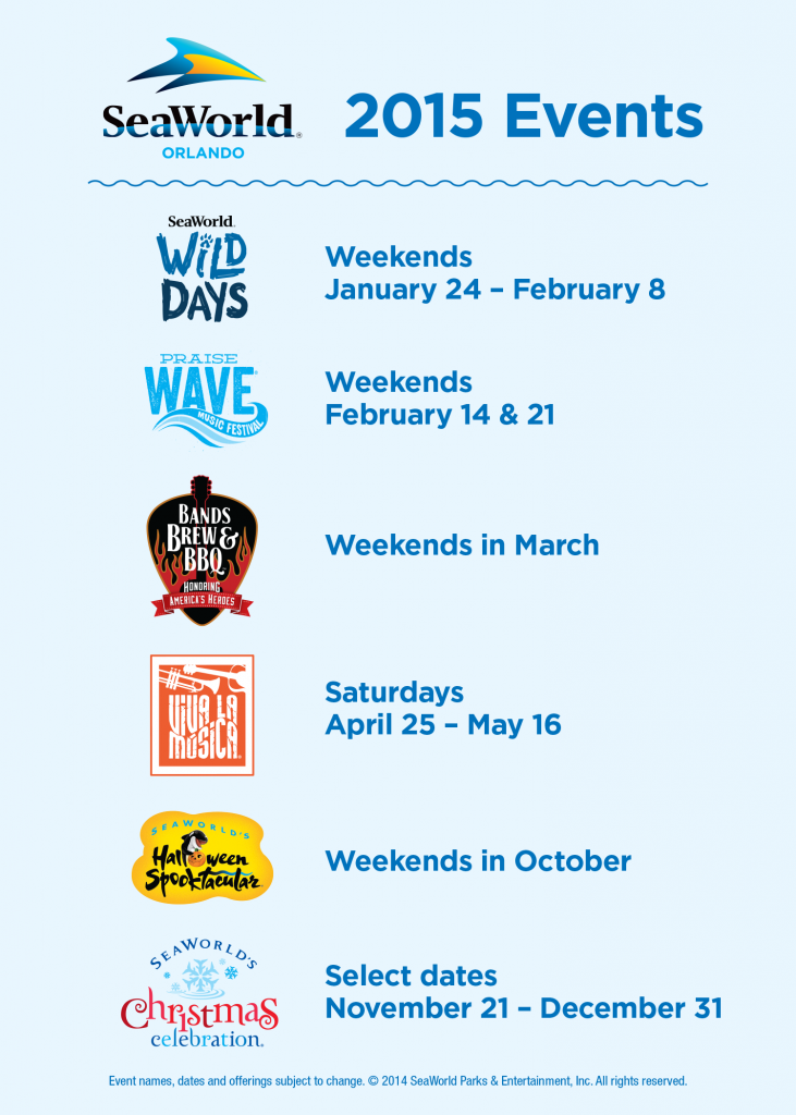 SeaWorld 2015 Events Graphic