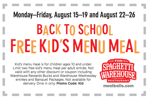 Spaghetti Warehouse Free Kid's Meal