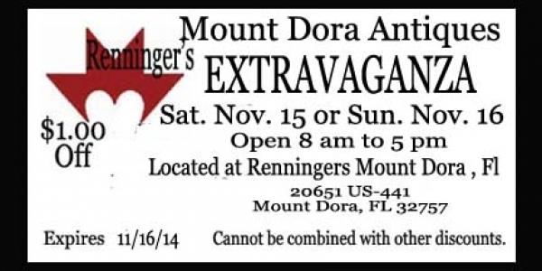 Mount Dora Renninger's Antique & Collector's Extravaganza November 14-16, 2014